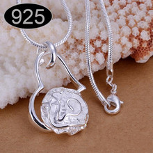 tiger totem Free shipping Rose heart pendant hanging fashion silver plated color copper alloy chain Necklace jewelry accessories