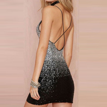 Gradient Black Silver Party Sequin Dress 2017 Summer Women Dress Sexy Night Club Backless Fashion Short Mini Dresses Vestidos