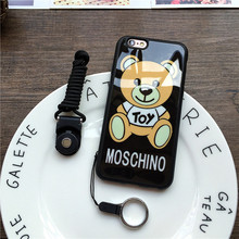 Fashion Cartoon Bear Shell For iPhone 5 5S SE 6 6S Plus Phone Cases Soft PC+TPU Luxury Lanyard Cover Cute Animal Protection Capa
