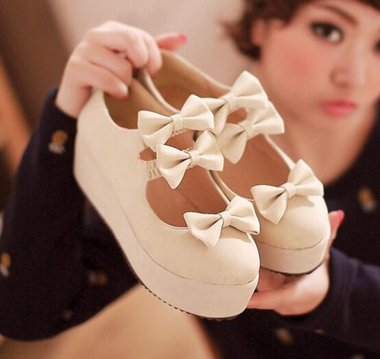 Women Wedge Heel Bow Shoes New 2017 Japanese Style Princess Platform Lolita Pumps Slip On Cosplay Shoes Free Shipping<br>