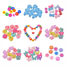 LASPERAL Heart Flower Car Wood Beads For Kids Children Diy Crafts Wooden Beads For Kids DIY Necklace Bracelet Natural Wood Beads(China)