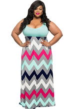 Vestidos De Playa New Summer Light Blue Multicolor Zigzag Wavy Long Beach Dress Women Casual Sleeveless Plus Size Maxi Dresses