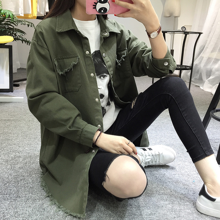 2018 Spring Autumn New Long Section Lapel Tassel Denim Jackets Women Loose Casual Long Sleeve Female\'S Thin Basic Jacket Coats (23)