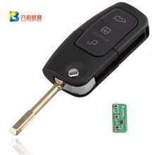 433/315 MHz 3 Buttons Flip Key Fob Transponder Chip For Ford FOCUS MONDEO TRINSIT With logo