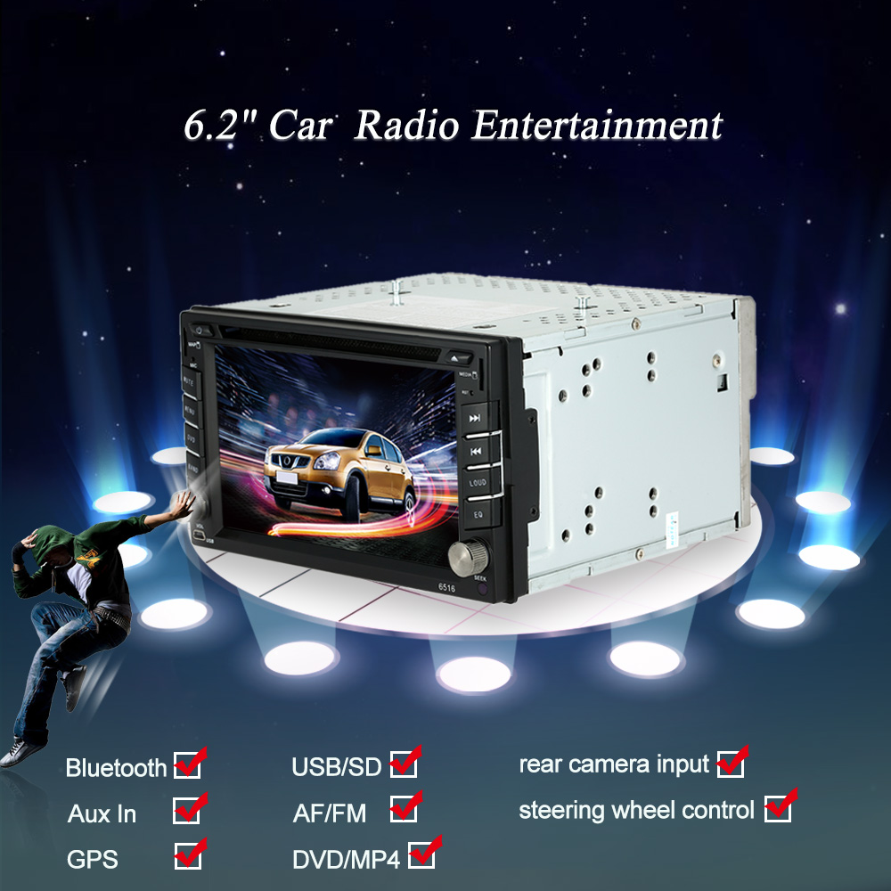 "Universal Double 2 Din Car DVD player GPS Navigation in Dash 6.2"" Car Autoradio Video MP5 Player Car Stereo audio BT Multimedia(China (Mainland))"