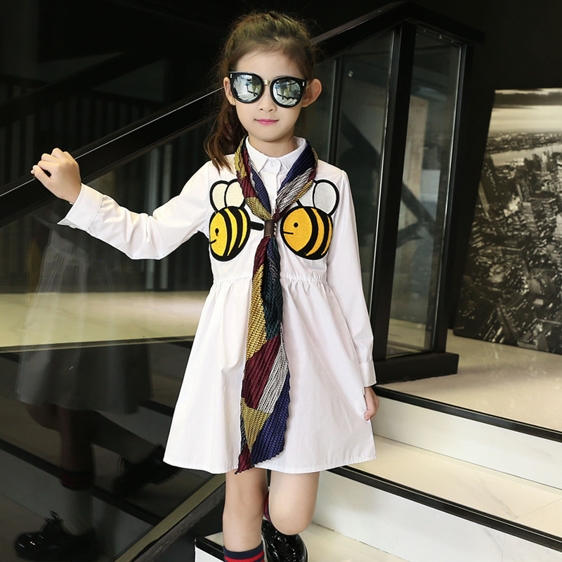 Girls Shirt-dress Autumn Embroidered Bees Primary and Secondary Schools Kids Clothing with Scarf Cotton White<br>