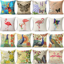 Christmas Cushion Cover vintage Retro Flamingo butterfly Cotton Linen Pillow Case Peacock Cushion Covers Sofa Bed Decor 45x45cm