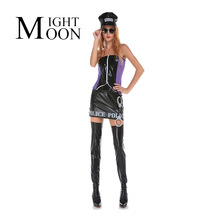 MOONIGHT NEW Cop Adult Costume 2017 NEW Sexy Arresting Police Costume Officer Candy Costume Sexy Police Woman Halloween Costume(China)
