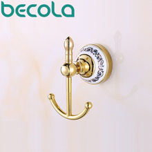 Bathroom Accessories Glod Plated Ceramic Robe Hook Wall Mounted Coat Hook Bathroom Products BR-5501(China)