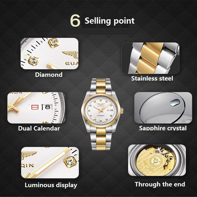 GUANQIN Gold Couple Watch Men Women Mechanical Watch Luminous Calendar Week Waterproof Rhinestones Automatic Lovers Watches (9)