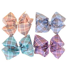 "16pcs/lot  7""Scotland Style Grosgrain Ribbon Big Plaid Hair Bows Clip For Girls Kids Hair Barrettes fashion Hair Accessories"