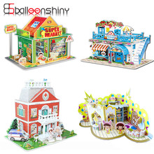 3D Construction Puzzle Baby Toy DIY Early Learning Jigsaw Castle Pattern Brinquedo Kid Educativo Houses Puzzle Gift For Children(China)