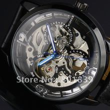 Luxury WINNER Black Dial Skeleton Automatic /Wind Up Mechanical Men's Wrist Watch Nice Xmas Gift Wholesale Price(China)
