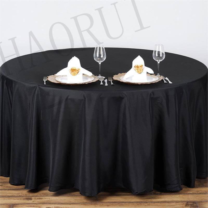 10pcs Black Customized Polyester Linen Cotton Fabric 96 Round Table Cloth For Weddings Modern Cover Decoration Home