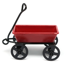 Mini Cute Dollhouse Metal Miniature Metal Red Small Pulling Cart Garden Furniture Accessorie Toy For Home Decor Gift Ornament