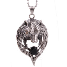 New Hot Movie Necklace Wholesale Fashion stainless steel Movie Jewelry Punk Wolf Pendant Wolf Head Necklace