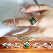 2016 Hot sale korean simple retro Arrow triangle rings set 5PCS popular Turkish Silver rings for women(China)