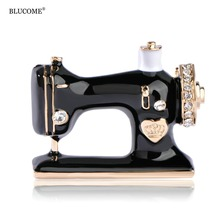 Blucome Enamel Esmalte Sewing Machine Shape Brooch Gold-Color Vintage Wedding Clothes Accessory Women Brooches Unique Hijab Pins(China)
