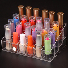 2017 Hot Big 1pcs Clear Acrylic 24 Lipstick Holder Stand Cosmetic Organizer Makeup CaseToiletry Kits New Recommend