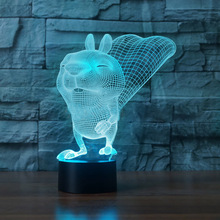 Cartoon Squirrel Home Decor USB Lamp Flash Party Atmosphere Luminarias Touch 7 Colors Changeing LED Illusion Nightlight Lamparas