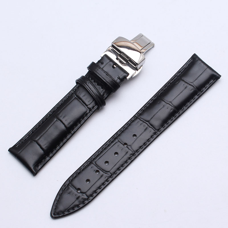 Butterfly clasps Cowhide Genuine Leather Watchband 18mm 20 22mm Watch Band Bracelets Strap Wrist Belt Bracelet +free pin buckle<br>