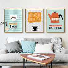 Cartoon Tea Cup Coffee Kettle Nordic Wall Drawing No Frame Canvas Flesh Based Mural Art Paper Chic Ornaments for Kids Room Cafe