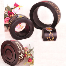 Three Pieces A Set Creative Candle Holder Handmade Hotel Home Romantic Decoration Wooden Candle Holders(China)
