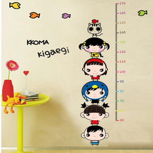 YOLALA Kids Body Height Wall Sticker Cartoon Height Ruler Home Decoration Baby Bedroom Furniture Decals Cute Cartoon Wallpaper