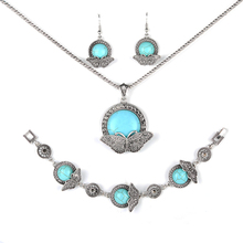 Parabola Round Created Turquoises Jewelry Sets Butterfly figured Pattern Pendant Earrings Bracelet Necklace for Women ZSS0005