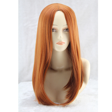 QQXCAIW Medium Long Straight Cosplay Brown Orange 50 Cm Synthetic Hair Wigs(China)