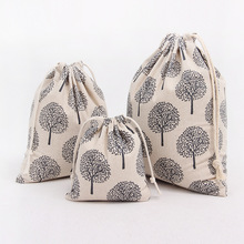 N064 Handmade Cotton Linen Draw String Storage Bag Candy Tea Sorted Bag Printed Fortune Tree