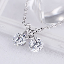 925 silver bicycle chain charm necklace pendant silver AAA zircon rhinestone necklace bike pendant for women jewelry wedding