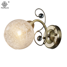 Crystal Wall Light Fixture Bedside Classic Vintage Bronze Sconce Wall Lighting Home Decor Bedroom Glass Shade Flower Wall Lamps(China)