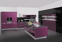 High gloss/lacquer kitchen cabinet mordern(LH-LA073)(China)