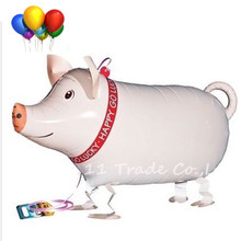 2017 New Arrived pet walking Pink pig balloon very cute party decoration walking animals pet air balloon for baby free shipping(China)