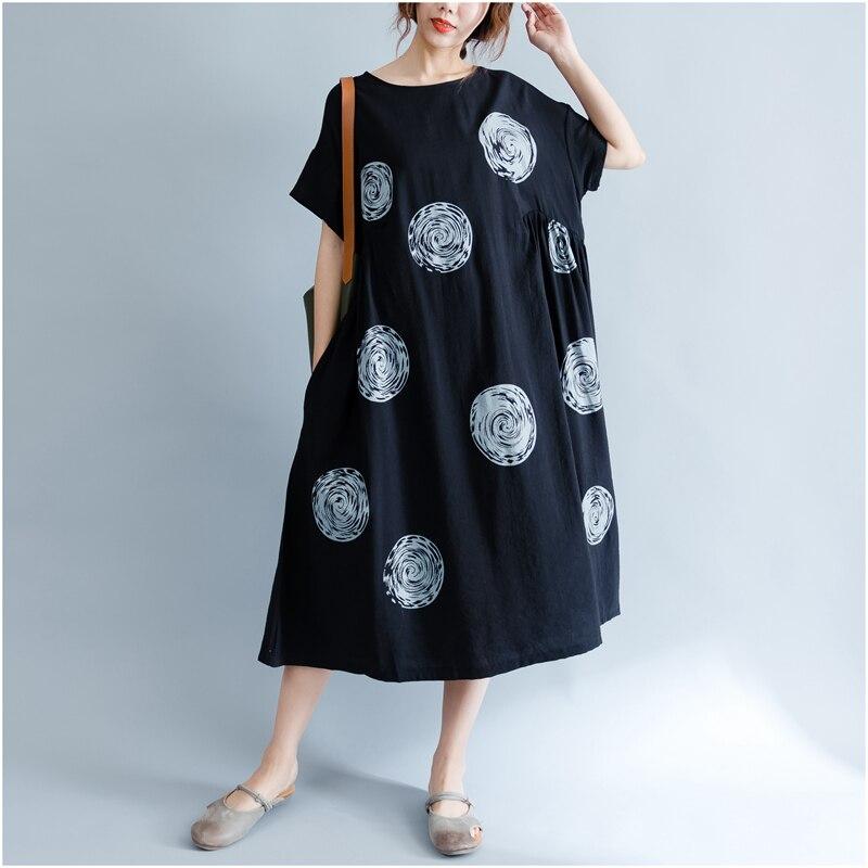 DIMANAF Women Summer Dress Big Size Cotton Linen Casual Soft Style Black Polka Dot Oversized Loose Female Sundress Clothing 2018 13