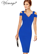 Vfemage Womens Elegant Sexy Off Shoulder Cut Out Deep V Summer Fashion Slim Casual Party Club Evening Bodycon Pencil Dress 6668(China)