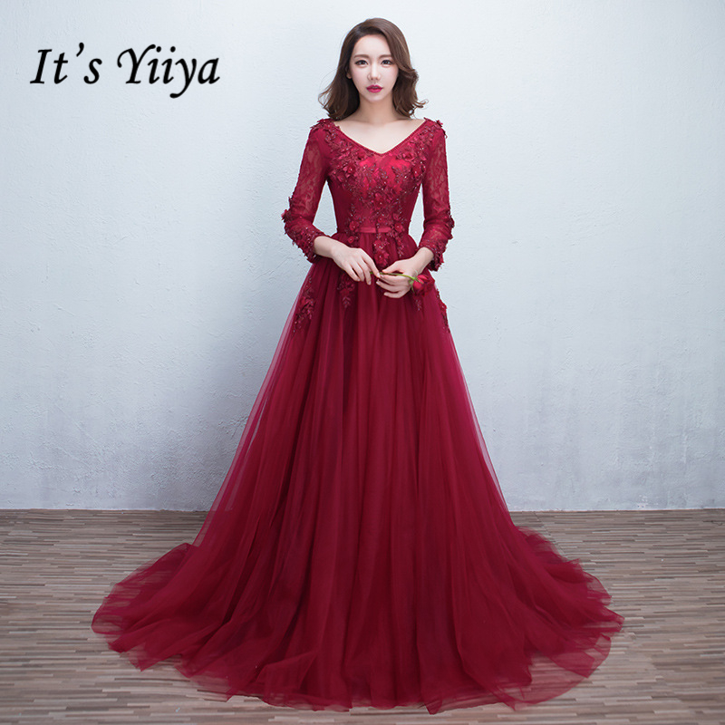 It's YiiYa New Wine Red V-neck Backless Full Sleeves Lace Beading Train Wedding Dresses Luxury Tulle Trailing Bride Gowns X066