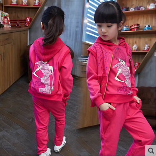 Childrens clothing autumn girls suit 2015 new kids long-sleeve sports casual sets big girls cartoon princess spring 3 piece<br>