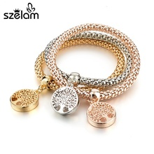SZELAM Tree of Life Gold Charm Bracelets Vintage Designer 3pcs Multilayer Bracelets for Women SBR170035