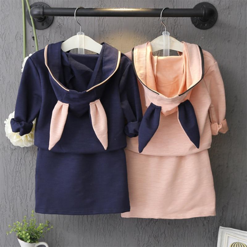 Toddler Girl Clothing Kids Set Long Sleeve Cartoon Ear Hooded Zipper Coat+Skirt 2pc Baby Girls Clothing Sets Autumn 2-7Years<br><br>Aliexpress