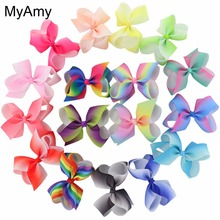 MyAmy 17pcs/lot 4.5'' grosgrain ribbon hair bows WITH alligator hair clips boutique rainbows bow girls hairbow for teens kids(China)