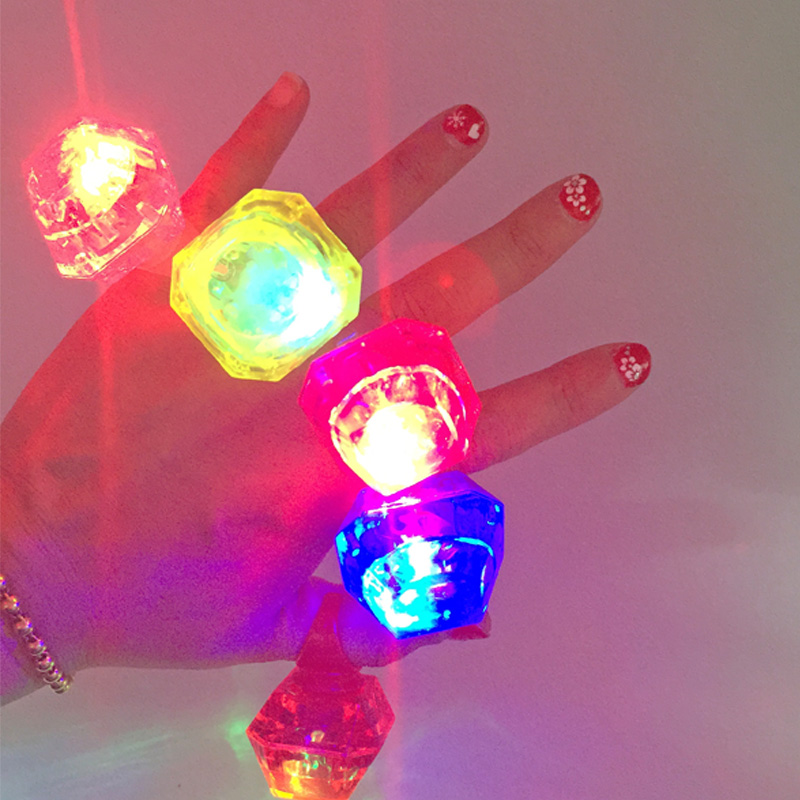 2017 Limited Sale Supplies Baby Shower 10pcs/lot And Birthday Lighting Ring Led Glowing Finger Rings Small Diamond Flashing(China (Mainland))