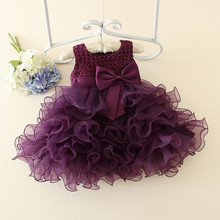 Baby Girls Evening Party Dresses Romantic Birthday Baby Girl Purple Flower Dress Princess Bow Tutu Dress Kids Weeding Clothes(China)