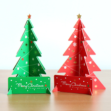 HAOCHU 2Pcs/lot Cute 3D Christmas Tree Wish Card Greeting Postcard Hanging Ornament New Year Souvenir Gift Craft For Children