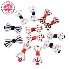 100 Pcs/lot Little Girl Hair Accessories Boutique Hairpins Kids Ribbon Bows With Clip Dots Bowknot Hair Clips 607