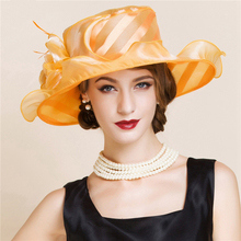 Queen Elegant Orange Flower Feather Organza Hat Ladies Summer Church Hats Wedding Hats For Women