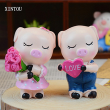 XINTOU Cute Resin Animal Pig Figurines Ornaments Mini Rose Flower Couple Pig Statues Creative Christmas Home Car Decoration Gift(China)