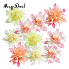 MagiDeal Beautiful 10Pcs Artificial Silk Dahlia Flower Heads Buds DIY Craft for Wedding Dress Shoe Embellishments Bouquet Ties(China)