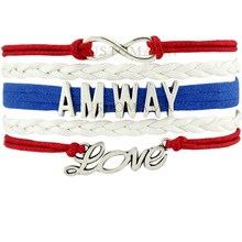 (10 PCS/Lot) Infinity Love AMWAY Multilayer Wrap Bracelet Gifts Blue White Leather Bracelets For Women Fashion Custom Jewelry(China)